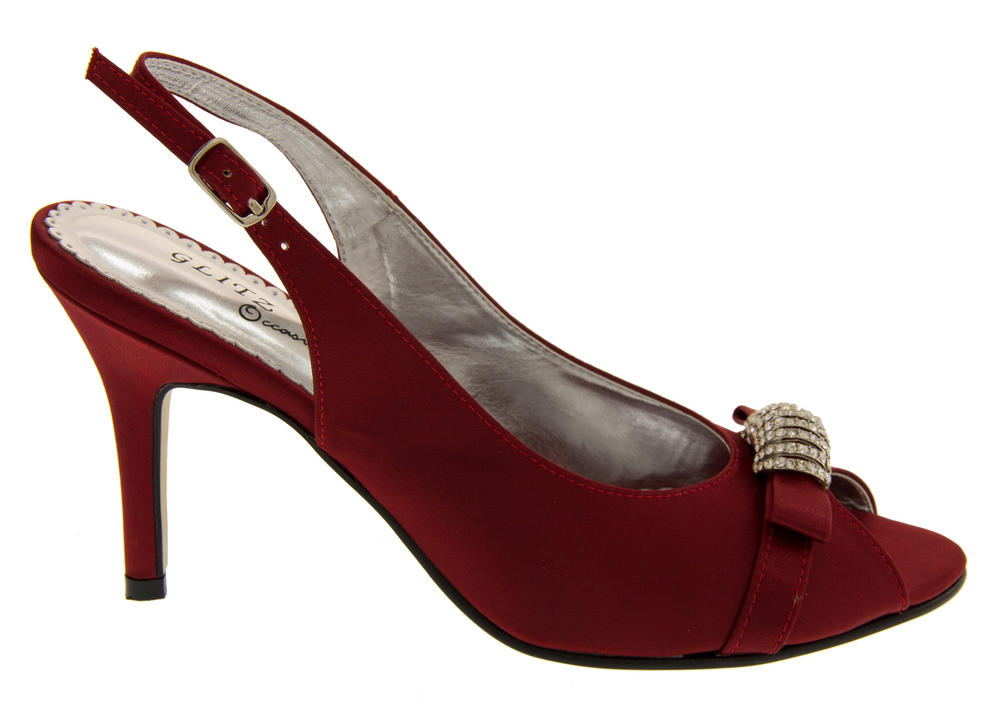 3c846db4f6cb85 Ladies Mid Heel Peep Toe Wedding Shoes Elegant Satin Diamante Bridesmaid  Shoe