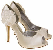 Womens Satin Flower Wedding Shoes Bridesmaids Heels Thumbnail 4