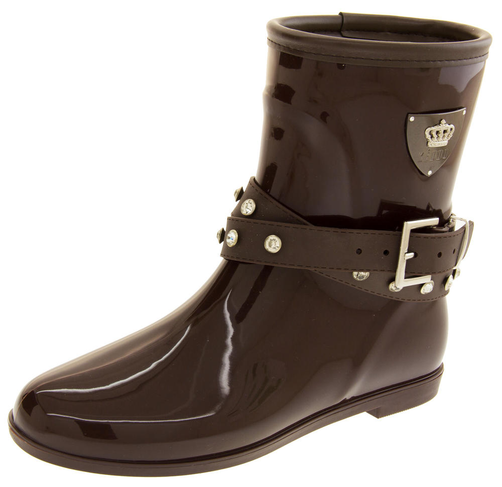 Womens KEDDO Fur Lined Short Half Wellington Boots