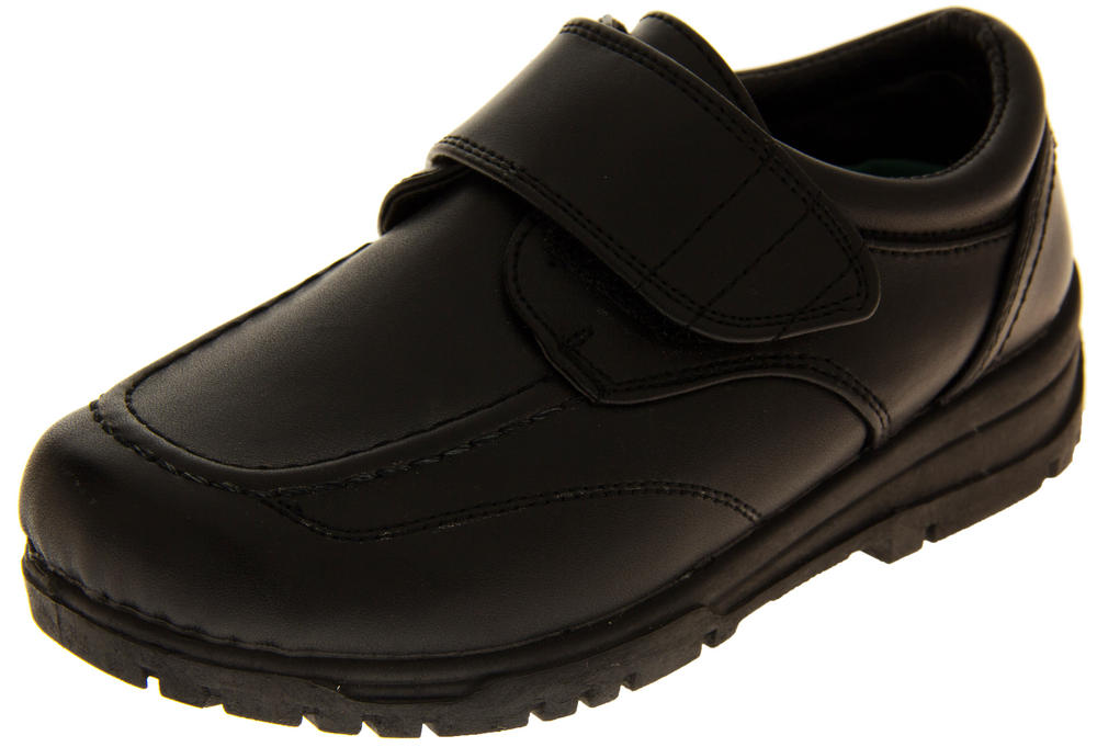 Boys Black Velcro Back to School Shoes