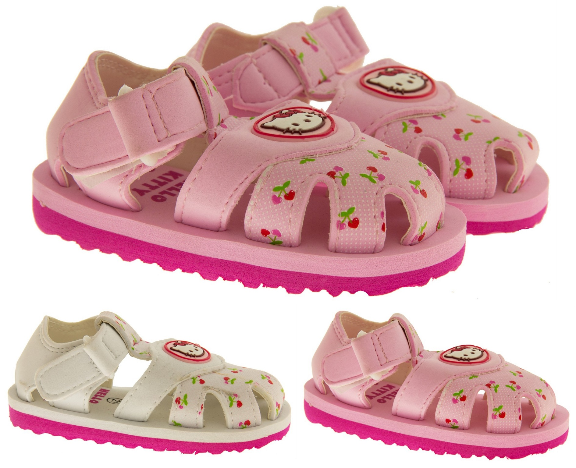 ea8f174b6758 Baby Girls Hello Kitty Sandals Kids Pink White Beach Summer Shoes Size 4  4.5 5 6