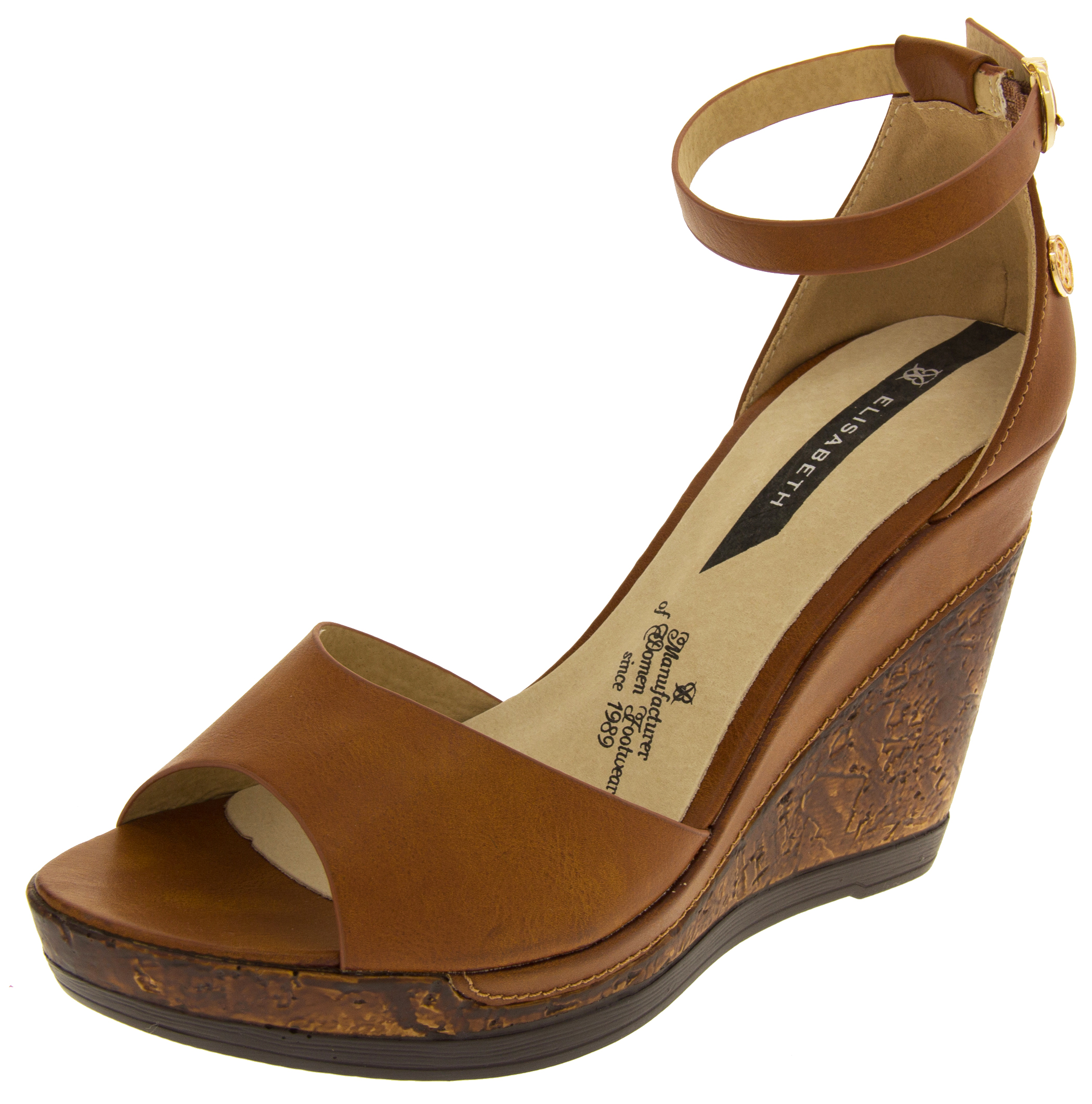 Womens Brown Leather Wedge Shoes