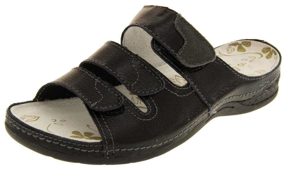 Womens COOLERS Leather Mule Sandals Adjustable Velcro Straps