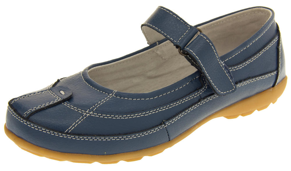 Ladies COOLERS LEATHER Shoes Womens Summer Velcro Strap Mary Janes