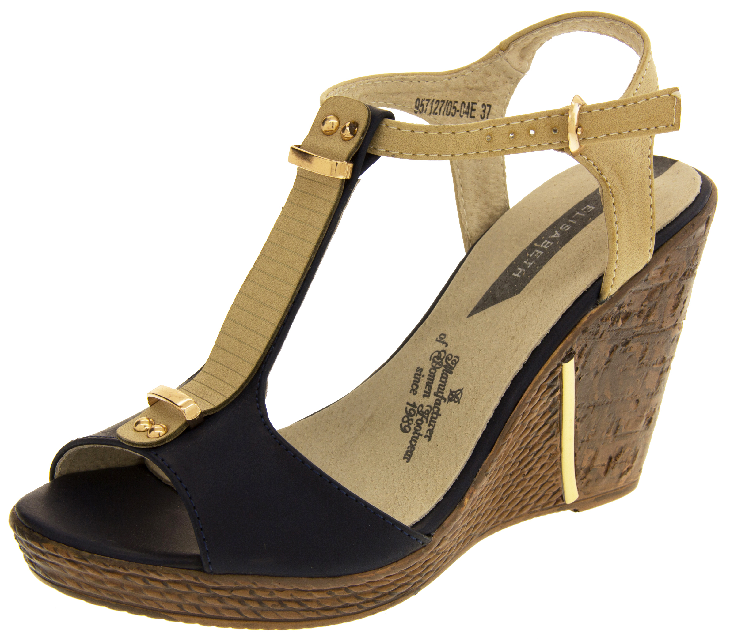 cac13e3712aba8 Sentinel Womens Elisabeth Wedge High Heels Sandals Platform Strappy Shoes  Size 4 6 7 8