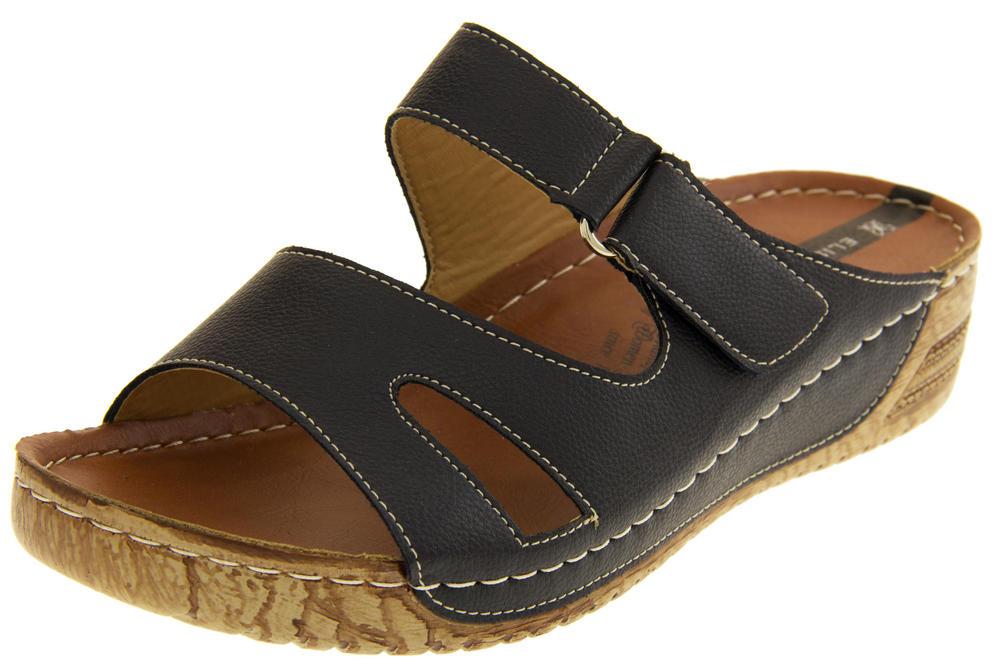 Womens Open Toe Mule Sandals Ladies Wedge Heels Summer Shoes