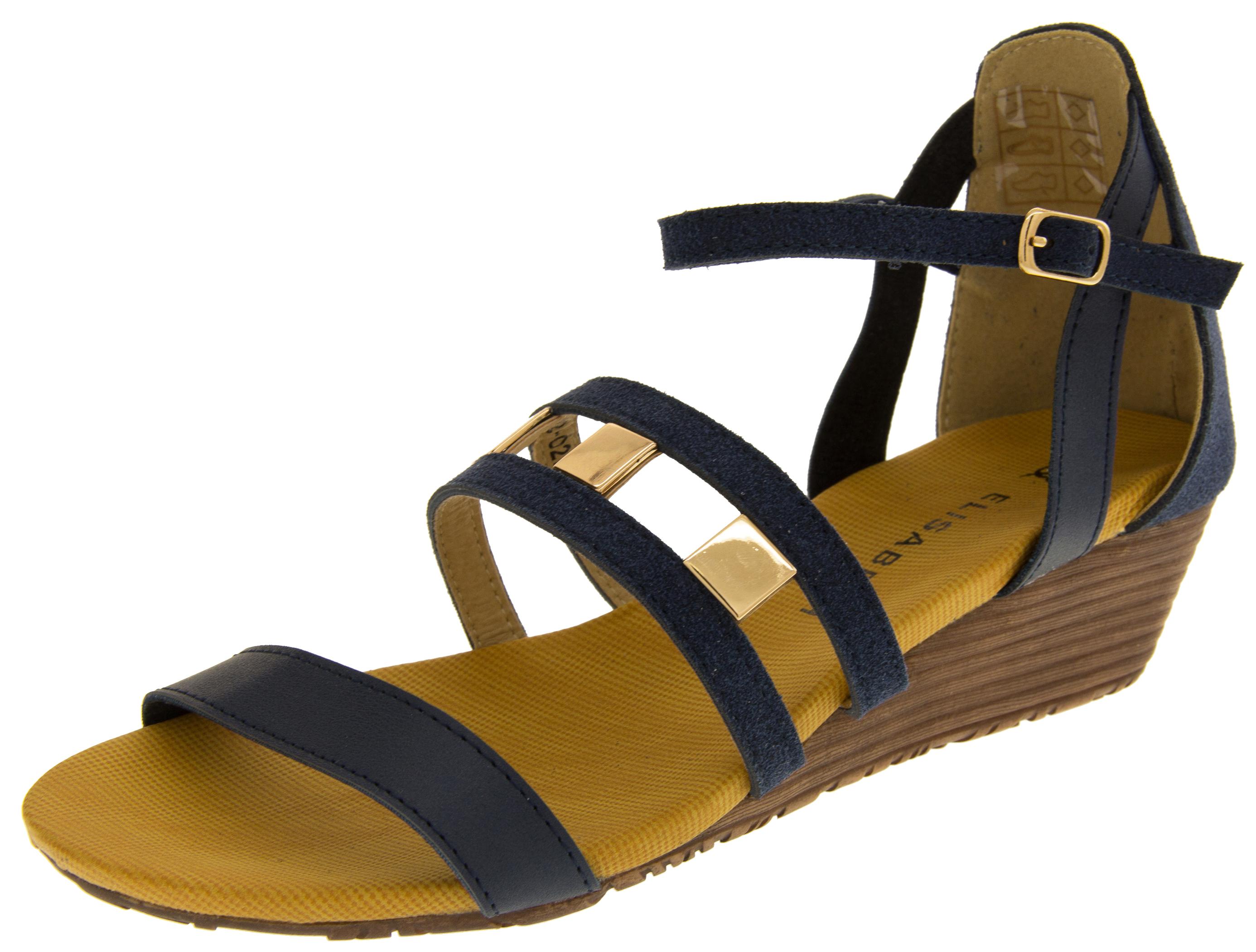 ladies elisabeth mid heel wedge sandals summer shoes