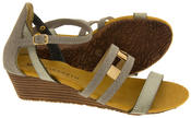 Ladies ELISABETH Mid Heel Wedge Sandals Summer Shoes Thumbnail 9