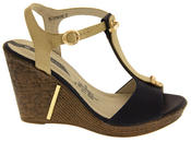 Womens Wedge High Heel Platform Strappy Sandals Thumbnail 3
