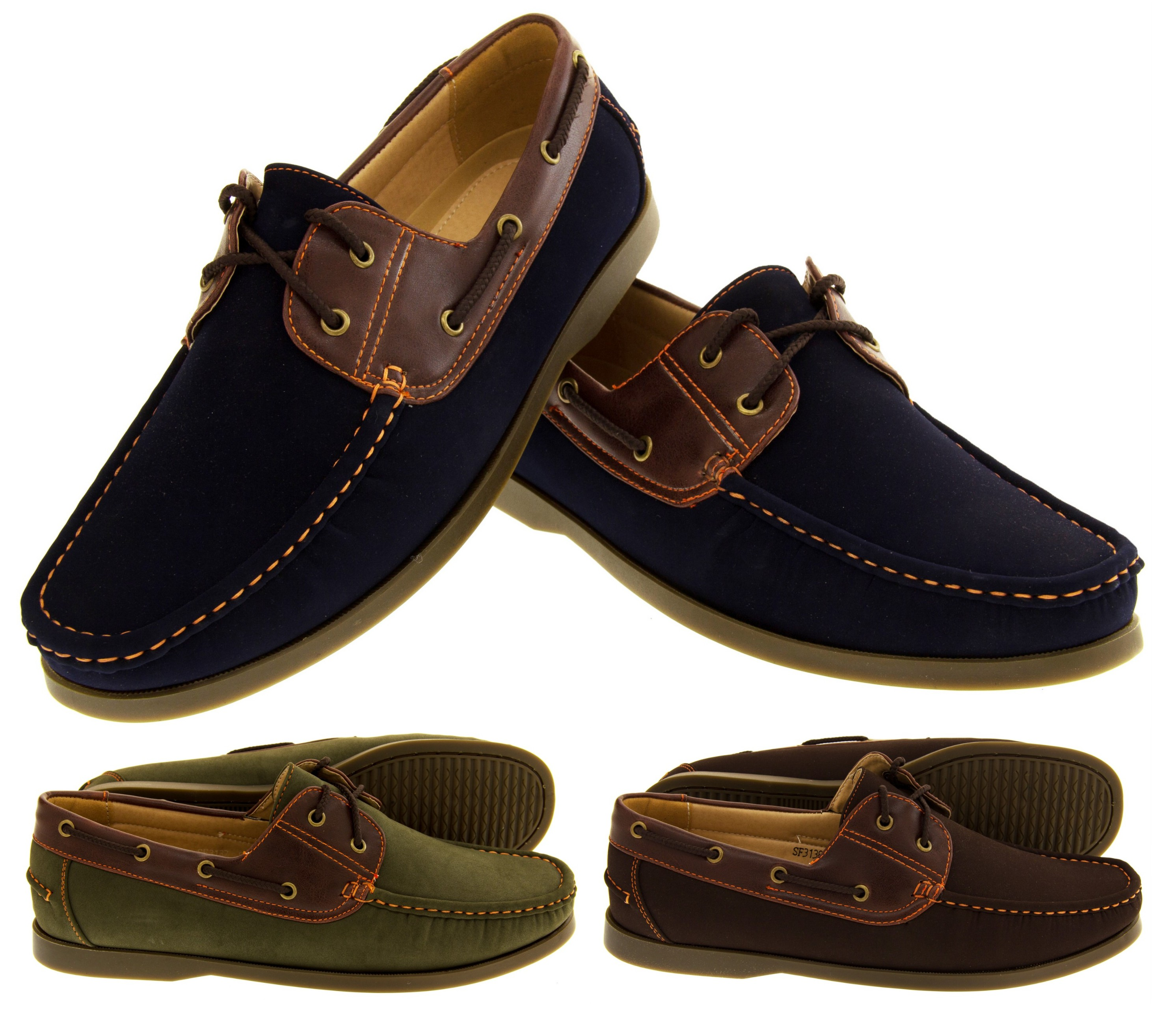 24003d9f1fe Mens SHORESIDE Casual Deck Shoes Lace Up Summer Loafers Size 7 8 9 10 11