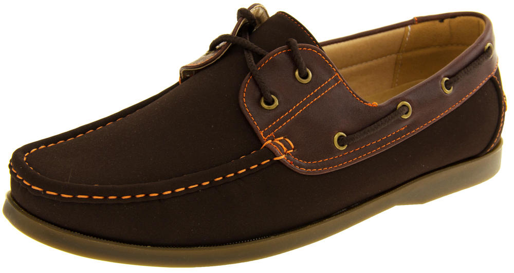 Mens SHORESIDE Casual Deck Shoes Lace Up Loafers