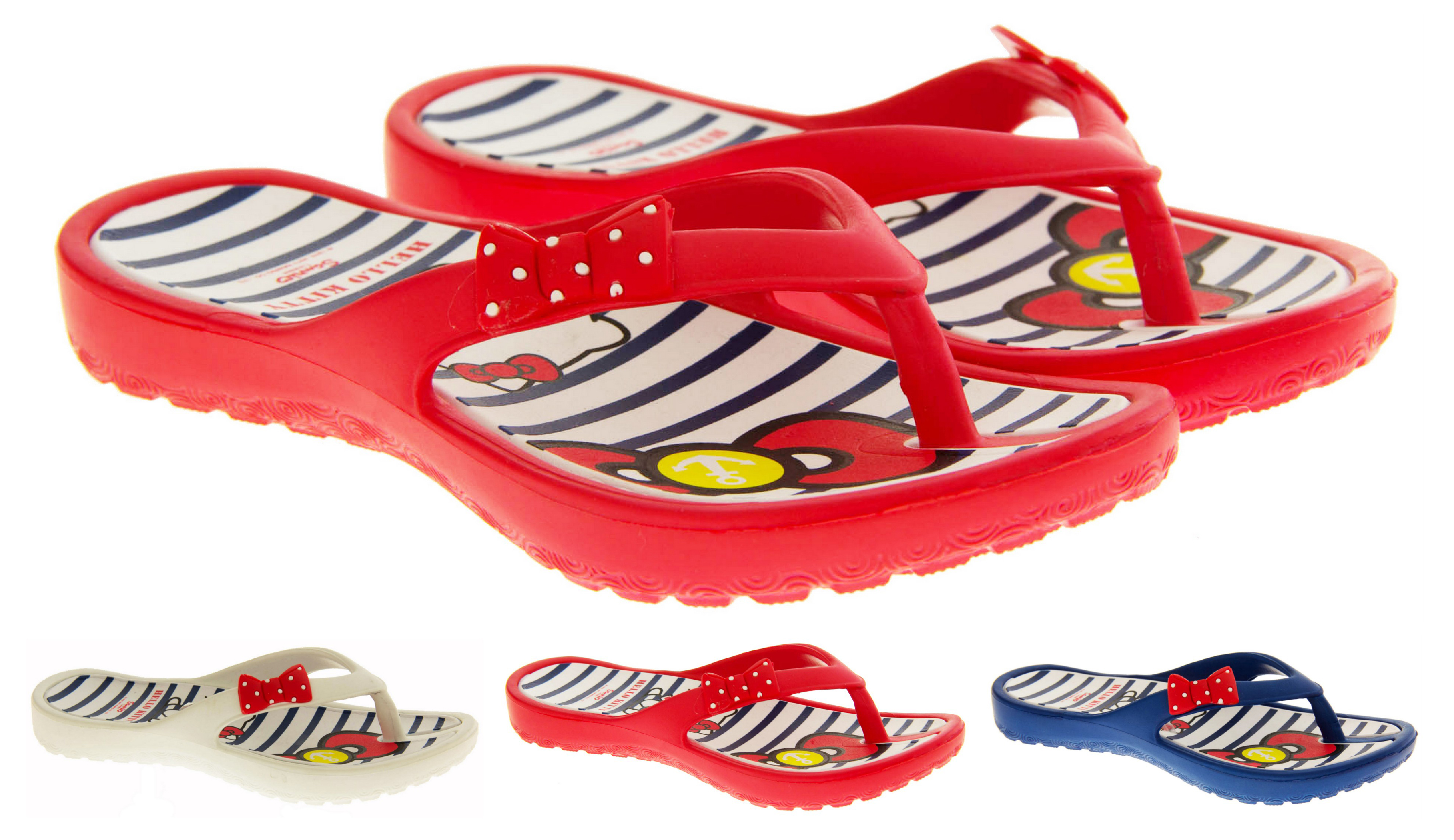 Hello Kitty Kids Girls Toddlers Flip Flop Jelly Sandals Strap Shoes Pink White