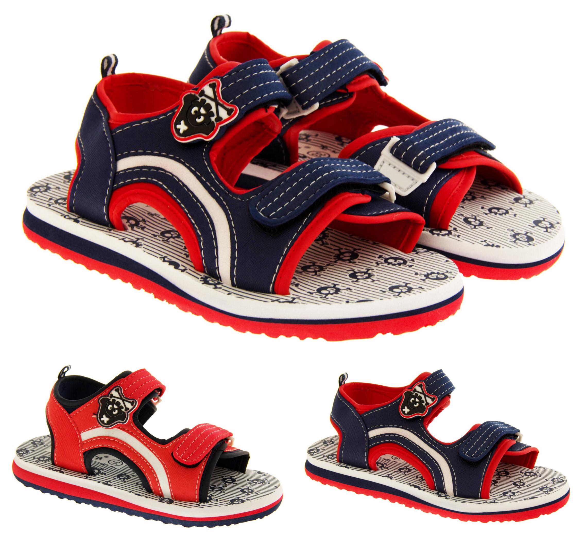Boys Pirate Sports Beach Sandals Open Summer Low Wedge Sz Size 11 12 12.5 2.5