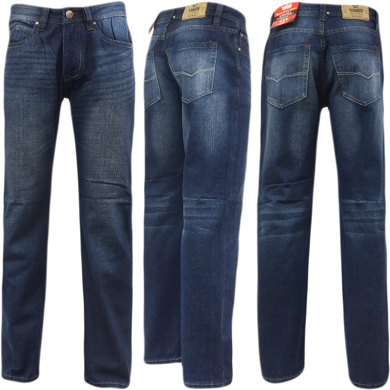 D555 Mens Straight Jean Relaxed Fit Denim Trouser Pant 'Rinaldo' Vintage Indigo