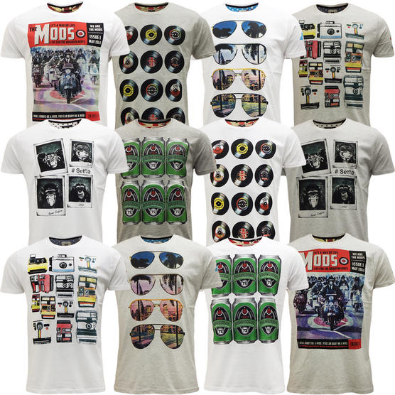 Brave Soul Short Sleeve T Shirt Mod Retro Designer Top Pack of 2 Thumbnail 1