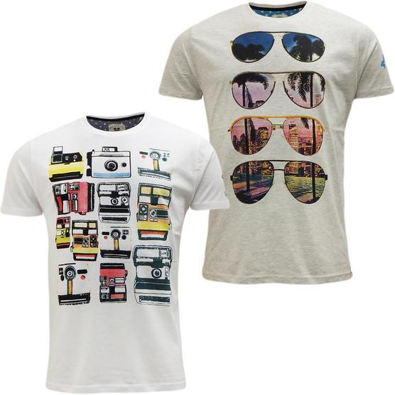 Brave Soul Short Sleeve T Shirt Mod Retro Designer Top Pack of 2 Thumbnail 2