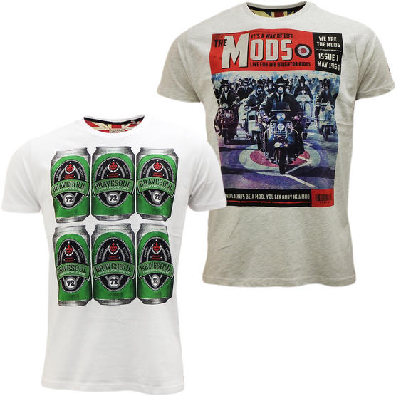 Brave Soul Short Sleeve T Shirt Mod Retro Designer Top Pack of 2 Thumbnail 3