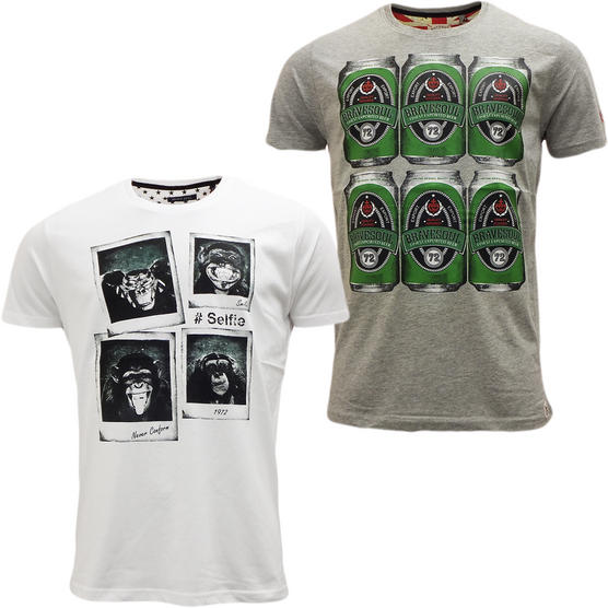 Brave Soul Short Sleeve T Shirt Mod Retro Designer Top Pack of 2 Thumbnail 4