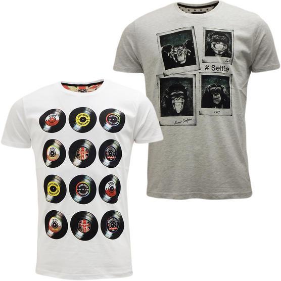 Brave Soul Short Sleeve T Shirt Mod Retro Designer Top Pack of 2 Thumbnail 5