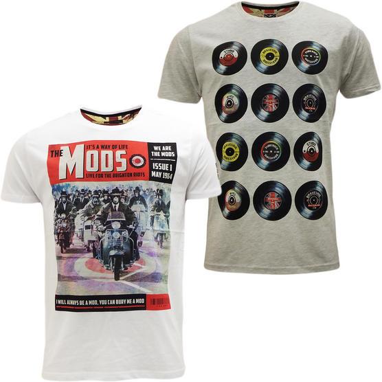 Brave Soul Short Sleeve T Shirt Mod Retro Designer Top Pack of 2 Thumbnail 6