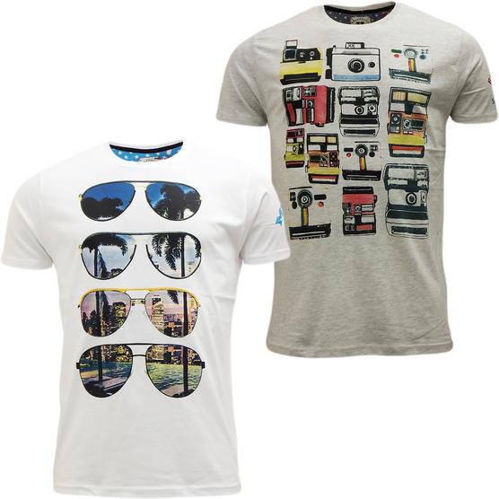 Brave Soul Short Sleeve T Shirt Mod Retro Designer Top Pack of 2 Thumbnail 7
