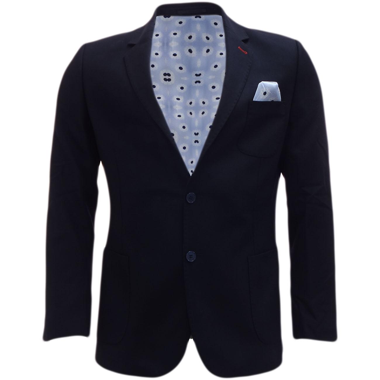 Bewley Ritch Suit Jacket Blazer Coat Smart Navy with Pocket Square