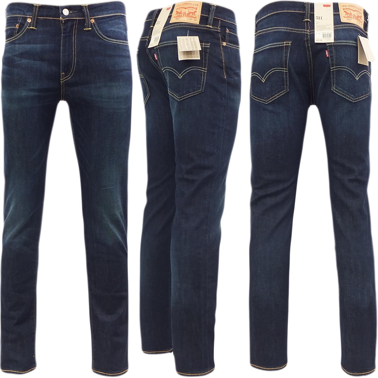 Levi's men's 511 skinny denim blue jeans