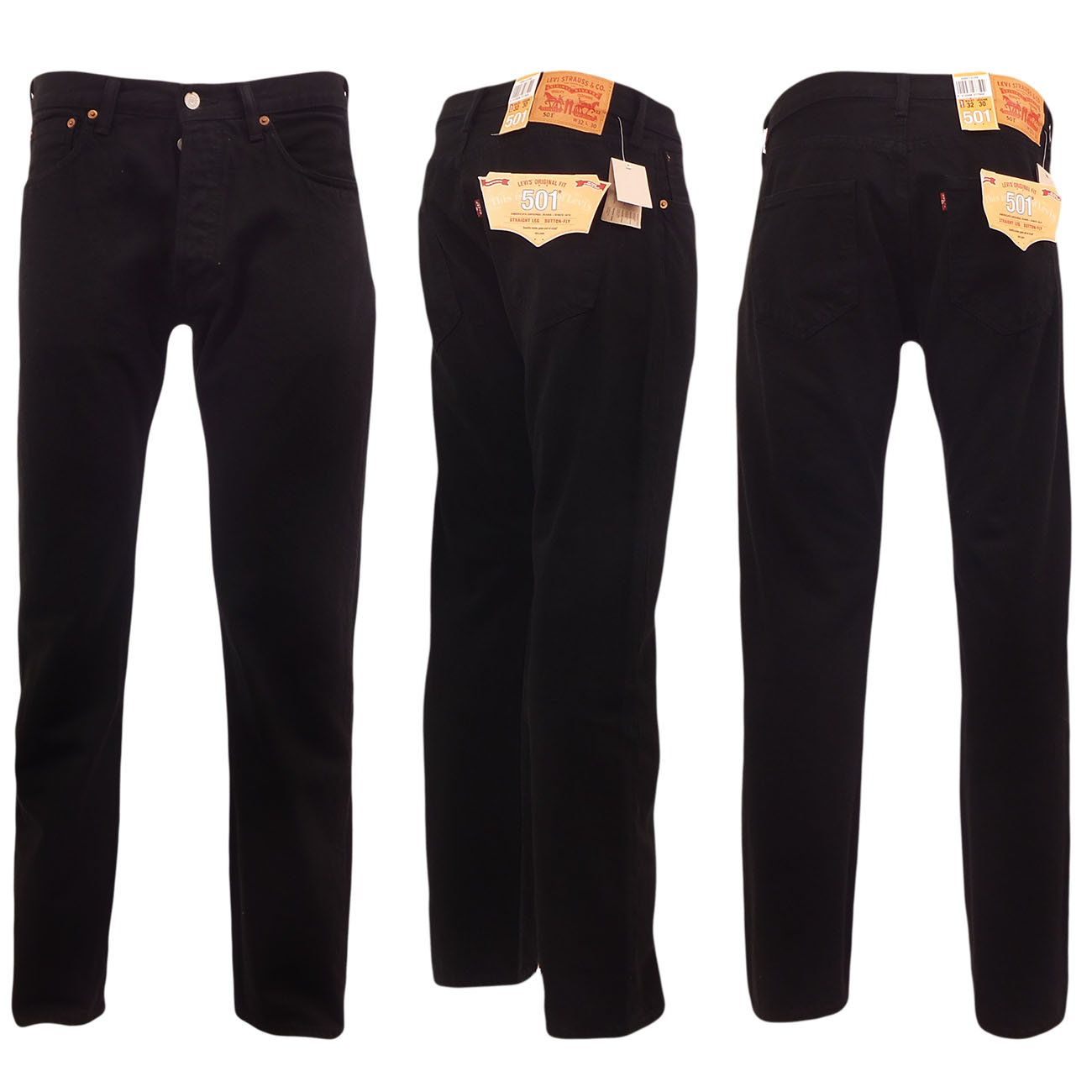 Levi-501-Jeans-Mens-Levi-039-s-Strauss-Denim-Straight-Fit-Trouser-Pant-Button-Fly
