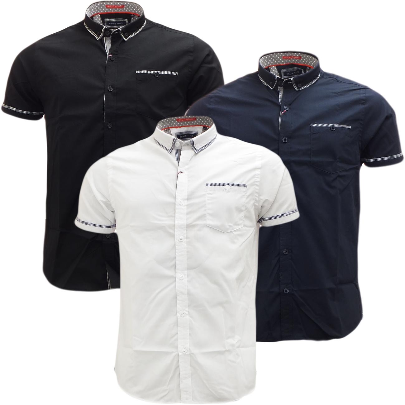 Brave Soul Short Sleeve Shirt Plain Retro Collar Shirts Colvin