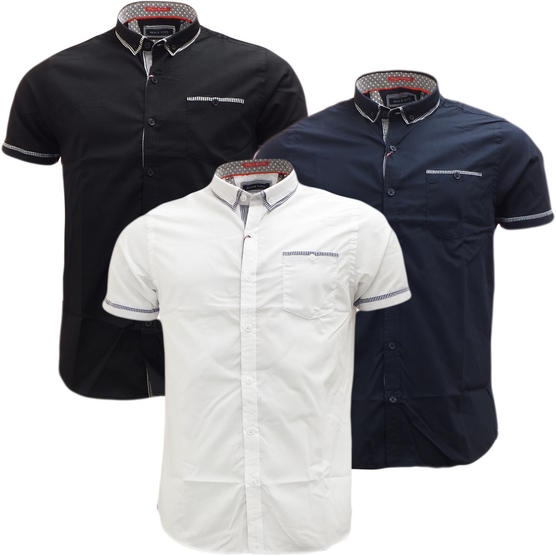 Brave Soul Short Sleeve Shirt Plain Retro Collar Shirts Colvin Thumbnail 1
