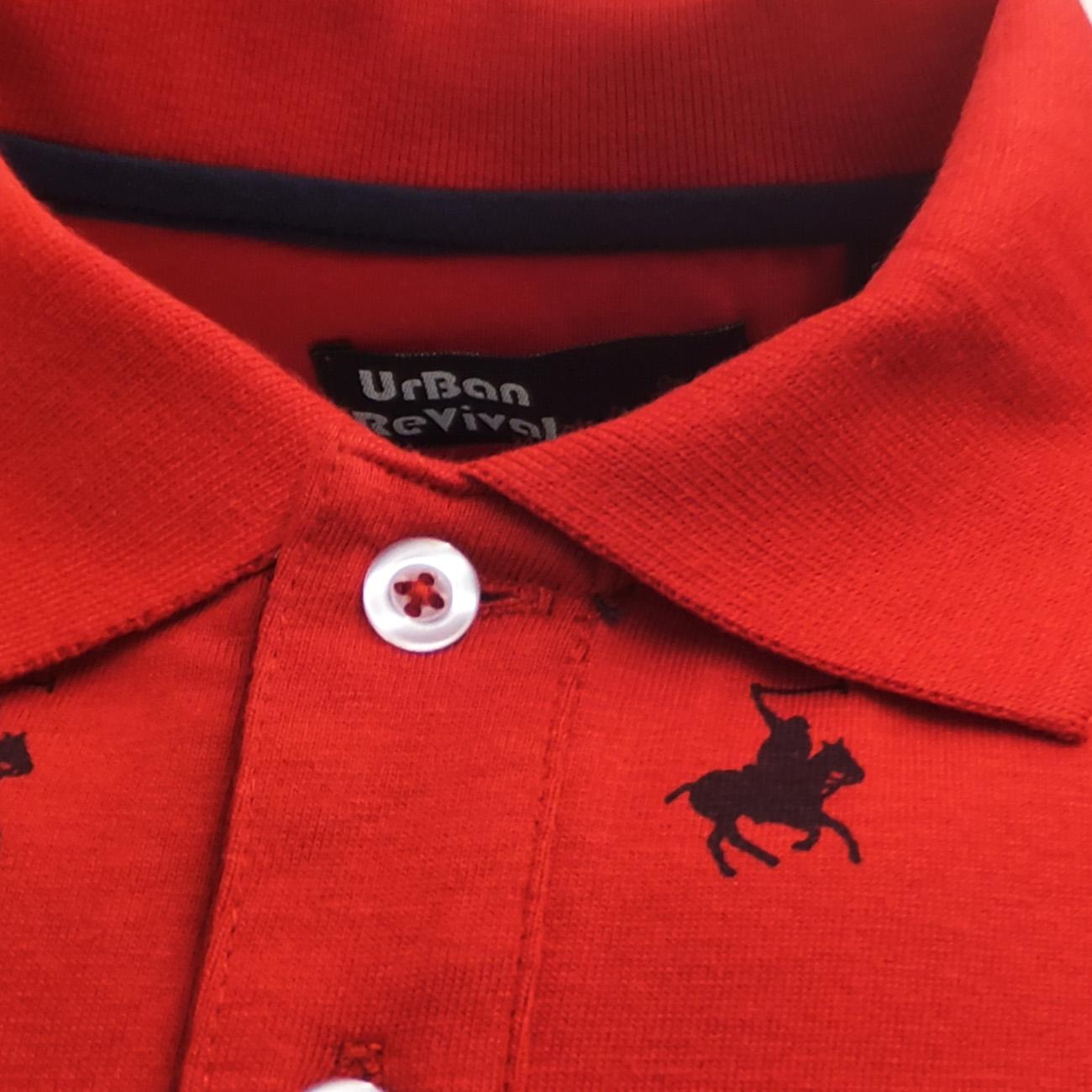 Mens Polos Urban Revival Polo Shirt Horse Polo Player Logo Grey