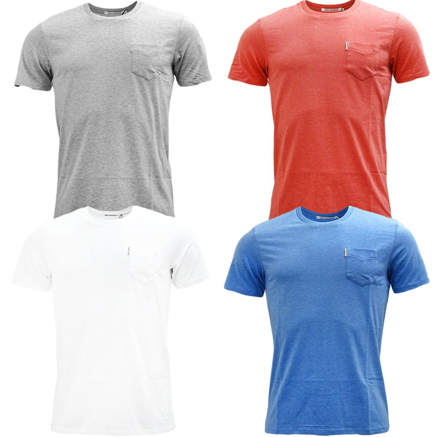 Mens T-Shirts Ben Sherman Plain T Shirt Top Pocket Lightweight