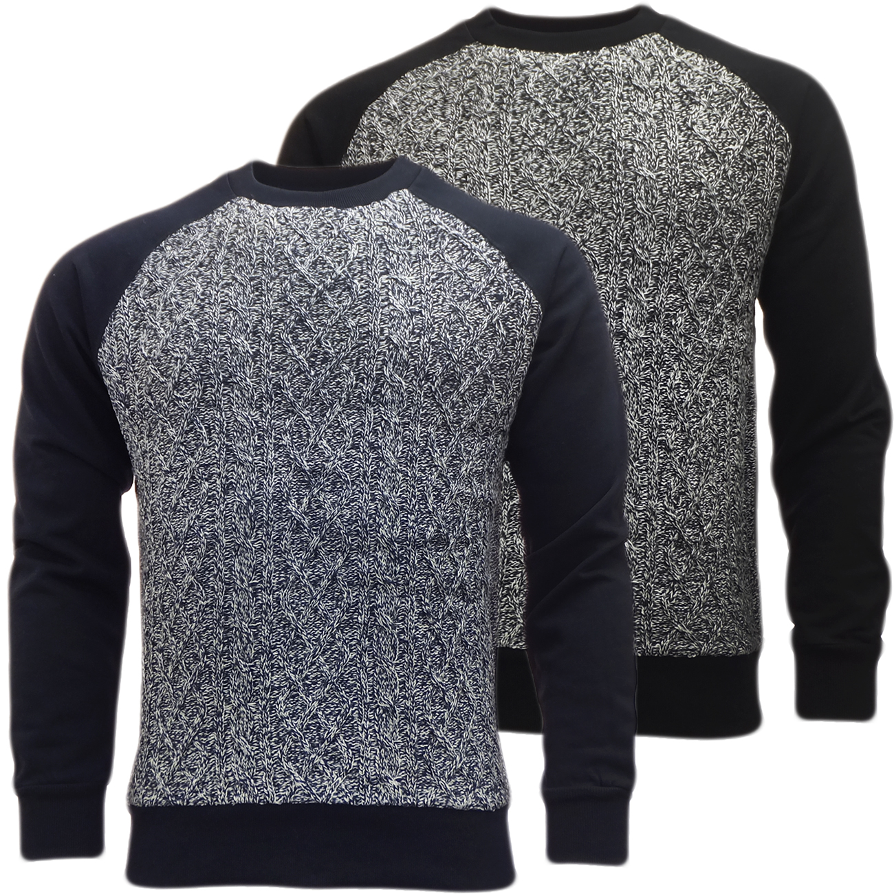 Brave Soul Knitted Jumper with Sweatshirt Back & Arms  'Chopen'