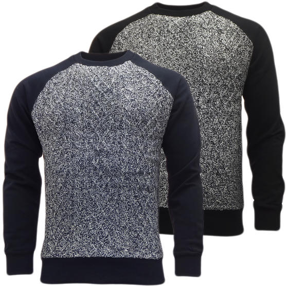 Brave Soul Knitted Jumper with Sweatshirt Back & Arms  'Chopen' Thumbnail 1