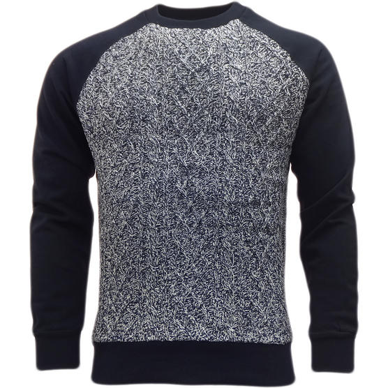 Brave Soul Knitted Jumper with Sweatshirt Back & Arms  'Chopen' Thumbnail 4
