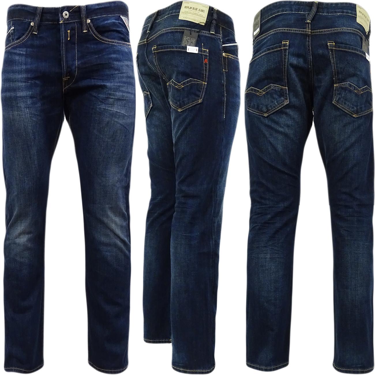Blue Denim Mens Jeans regular Jean Waitom Replay Dark Fit Slim vcFqSxa4wF