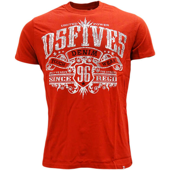 Mens Logo Front Designer Red T Shirt by D555 Thumbnail 1