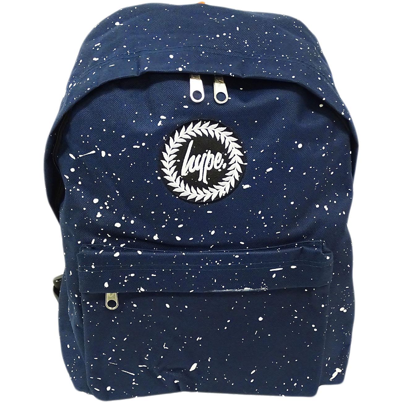 Hype Backpack Bag 'Splatter' Navy with White