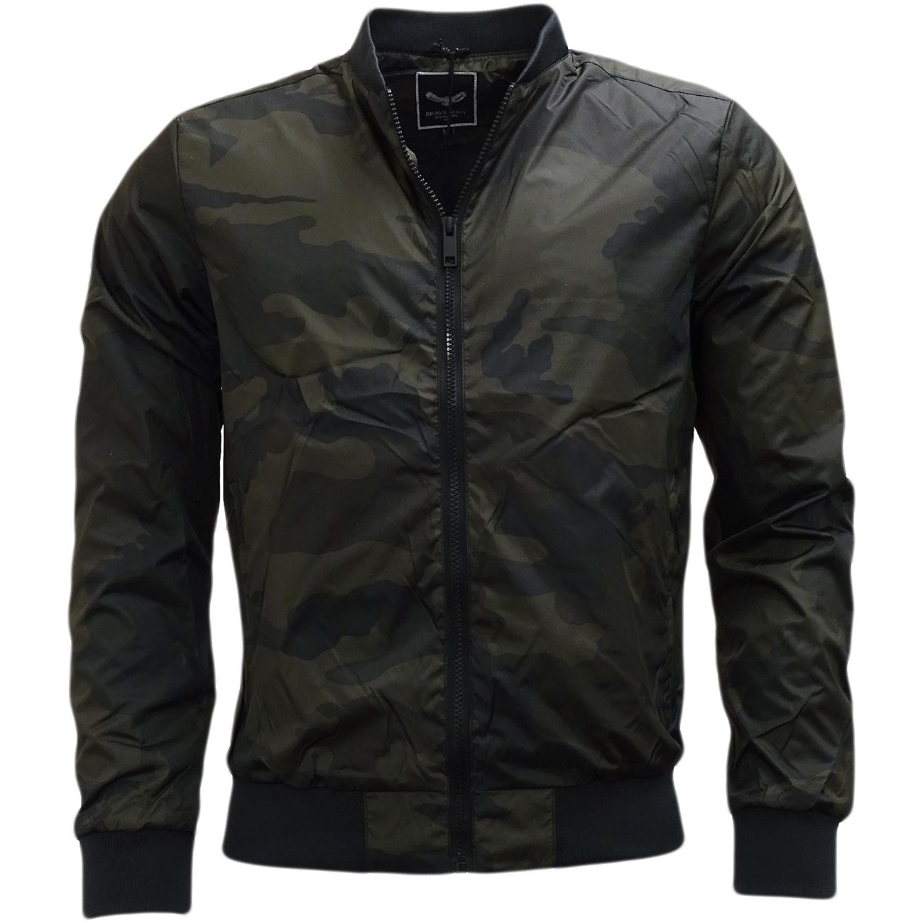 Brave Soul Camouflage Lightweight Jacket Khaki
