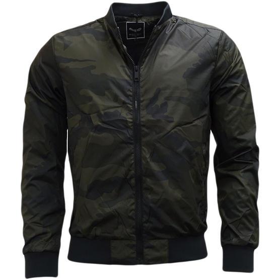 Brave Soul Camouflage Lightweight Jacket Khaki Thumbnail 1