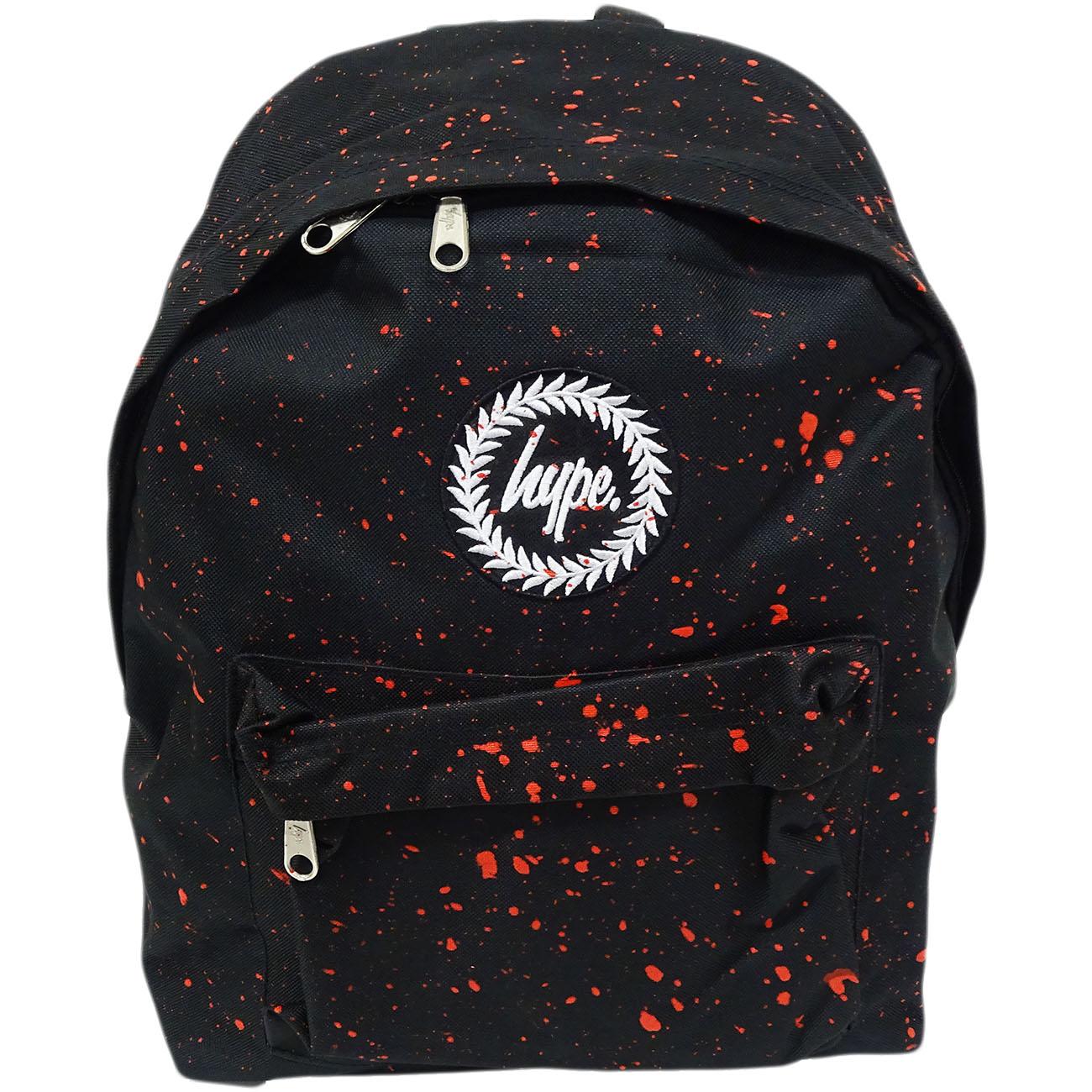 Hype Backpack Bag Black and Red Speckled