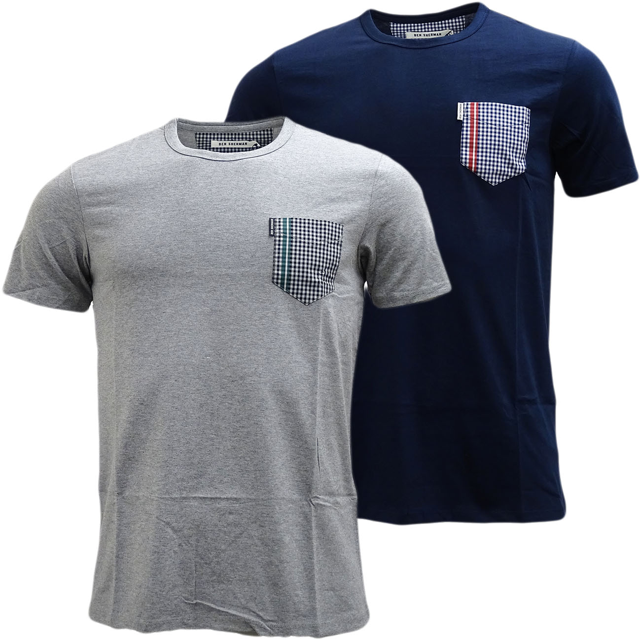 Mens Ben Sherman T Shirt Top Gingham Pocket