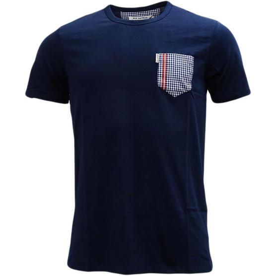 Mens Ben Sherman T Shirt Top Gingham Pocket Thumbnail 2