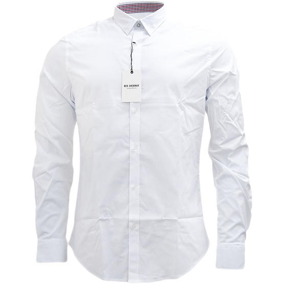 Ben Sherman Plain Long Sleeve Smart Shirt Soho Slim Fit Thumbnail 4