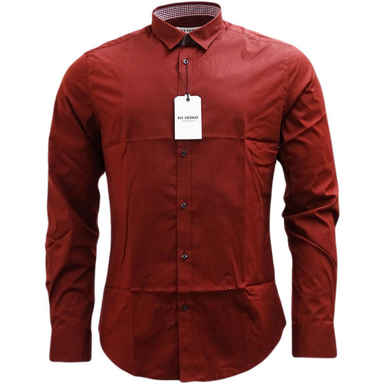 Ben Sherman Plain Long Sleeve Smart Shirt Soho Slim Fit Thumbnail 6