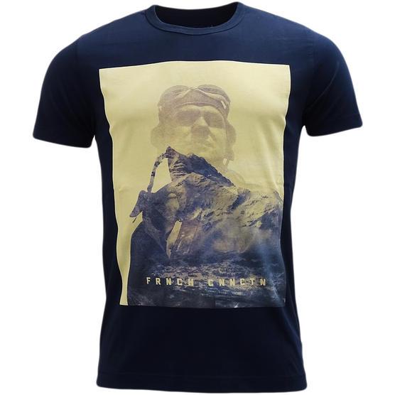 FCUK Navy T Shirt - Designer Logo Top Thumbnail 1