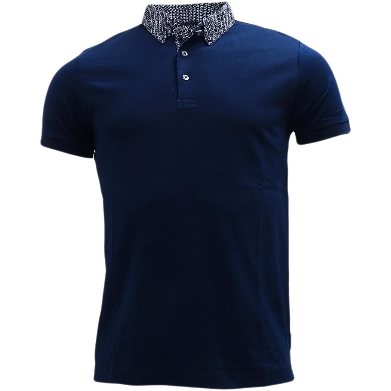 FCUK Plain Navy Polo Shirt with Mod Collar - 56GCC