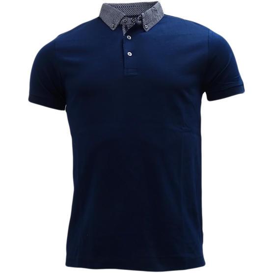 FCUK Plain Navy Polo Shirt with Mod Collar - 56GCC Thumbnail 1