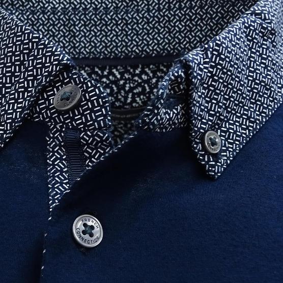 FCUK Plain Navy Polo Shirt with Mod Collar - 56GCC Thumbnail 2