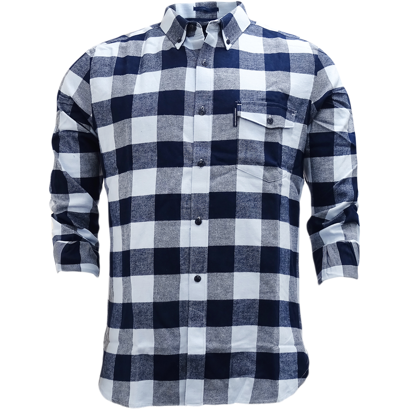 FCUK Long Sleeve Navy Blue Check Flannel Shirt - 52GBZ
